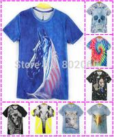 2015 new spring and summer fashion 3D print cartoon animal men's casual short-sleeved T-shirt 3D t shirt