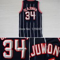 #34 Hakeem Olajuwon Jersey, Cheap Basketball Jersey Hakeem Olajuwon Mesh Vintage Blue Embroidery Logos, Free Shipping