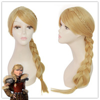 How to Train Your Dragon 2 heroine Astrid Synthetic Braid girls Cosplay wi Kanekalon Fiber no lace Hair wigs Free shipping