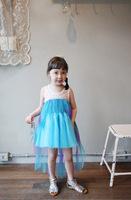 Frozen queen elsa girls princess lace dress Elsa's and Anna's Costume Blue asymmetric sleeveless Dresses Children Clothing