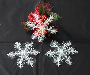 100x 3pcs/set Hot White Plastic Christmas Snow flake Sheet 11cm Ornament Merry Xmas Tree House Decoration Free Shipping (wx59)(China (Mainland))