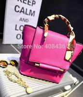Hot sale 2015 women bag silk scarf bag high quality leather handbag ladies one shoulder bag messenger tote bag 0323A
