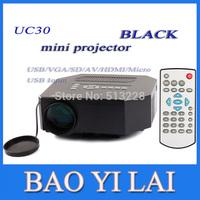 HD Digital  Projectors mini LED UC30 Video Game Proyector Portable Multimedia player HDMI VGA AV SD USB Slot Remote ControlBLACK