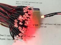 DC12V 3mm Flat top LED Red Color pre wired  indicator LED light