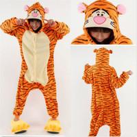 2014 Fashion New Hot Women Men Unisex Cartoon Animal Flannel Tigger Pijamas Romper Nightwear
