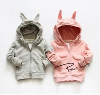 New 2014 baby girls cotton rabbit coat children pure cotton long-sleeve outwear kids fashion clothes A139