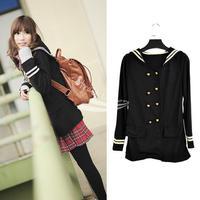 New Vintage Korean Girl's Women's Double-Breasted Long Sleeve Coat jacket Black free shipping 6077