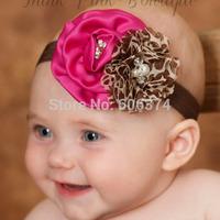 New European Hot Style Headband Floral Hairband with Pearl Satin Rose  Flower Headwear with Diamond Girls Birthday Gift
