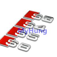 Car emblem sticker Rear Tail Badge Sticker Logo S3 S4 S5 S6 S8 Badge auto logo 3D Aluminum Alloy for Audi1pc per set
