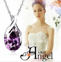 Women New Amethyst Lady Oval Heart Sprial Pendant sterling silver jewelry angel caller pendant fine jewelry