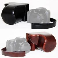 New Black/Chocolate Brown PU Leather Camera Bag Case Protector Shoulder Strap For Canon SX520 Camera E5084Z