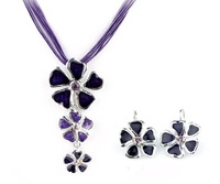 Top Quality Flower Fashion jewellery set Women's Party gift Alloy choker Pendant Necklace and earrings set Gifts A075