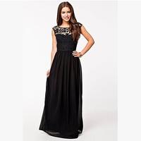 2014 European American Style Women Chiffon Dress Lace Patchwork Slim High Waist Sleeveless Backless Beautiful Dress
