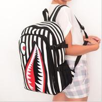 2014 women men's canvas backpack fashion schoolbags shark mouth novelty bag school bags mochila feminina Free Shipping WXT328