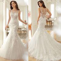 New Arrival Fashionable Elegant Brides Bridal Gown Court Train Mermaid Lace Wedding Dress 2015