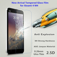 100pcs/lot 2.5D 0.3mm Premium Anti Crack Tempered Glass Screen Protector Film For xiaomi4 without Retail Package