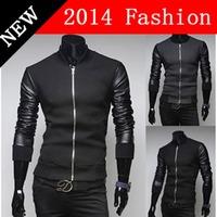 2014 NEW Winter Fashion Men PU Leather Patchwork Jacket Long Sleeve Cardigans Jackets Outdoors Cardigan Warm Casual Coat 1107K