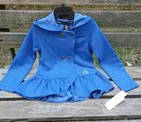Girls blended blue jacket Children terry spring thin coat