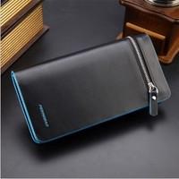 2015 NEW Leather Brand blue edge Men's Wallet Multifunctional long Design Men Wallets Zipper Coin Purse Card Holder purse
