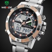 WEIDEI Watches Men LED Luminous Analog Digital relogio masculino Dual Time Display Date Week  3ATM Stainless Steel Wristwatch