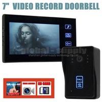 Video Record 7 Inch Video Door Phone Intercom Doorbell Home Security Kit Touch Key Camera Monitor RFID Keyfobs SD Card