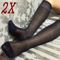 Men's 100% Nylon Black & Navy Sheer Socks Knee High Dress Socks 2/4/6Pairs YF105