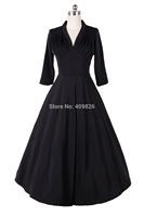 Vintage Classic Fold Bust Shirred V-Neck Swing Dress Long Sleeve Tunic Waist Mother of the Bride Dress Black Vestidos Femininos