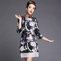 S-5XL Brand Plump Women Excelant 3/4 Sleeve Floral Print Organza Patchwork Dresses 2015 Spring Autumn Fashion Big Size XXXXL