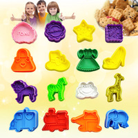 16pcs/lot free shipping cartoon Plastic christmas plunger cookie cutter,classic cookie tools,cookie cutter,cookie moulds