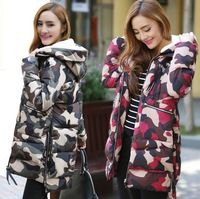 New Hot Women Camouflage Long Down Winter Lady Cotton Irregular Fashion Parkas with Hat