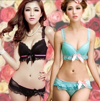 2015 Hot Sale New Arrival Women Sweet Gauze Lace Ruffles Deep V Push Up Adjustable Sexy Bra Set 70AB-85AB Bowknot Underwear Sets