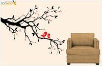 flower tree wall decal zooyoo7179 bedroom decoration pvc wall sticker home decor design wedding gift  bird love heart 50x70