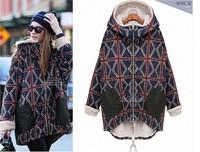 2015 Winter coat women long sleeve hooded thick zip outwear overcoat straight loose Union Jack jacket parkas women cothing S-2XL