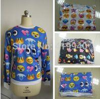 Wholesale Womens emoji Printed Sweatshirt New 2014 Autumn Women Hoodies Fashion emoji clothes Casual Suit Track Suits 60pcs/lot