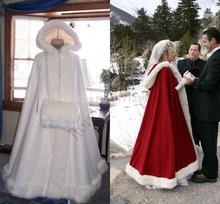 braut kap elfenbein atemberaubenden Hochzeit mäntel mit Kapuze mit kunstpelz knöchellänge rot weiß perfekt für den Winter lange wickel ds0989(China (Mainland))