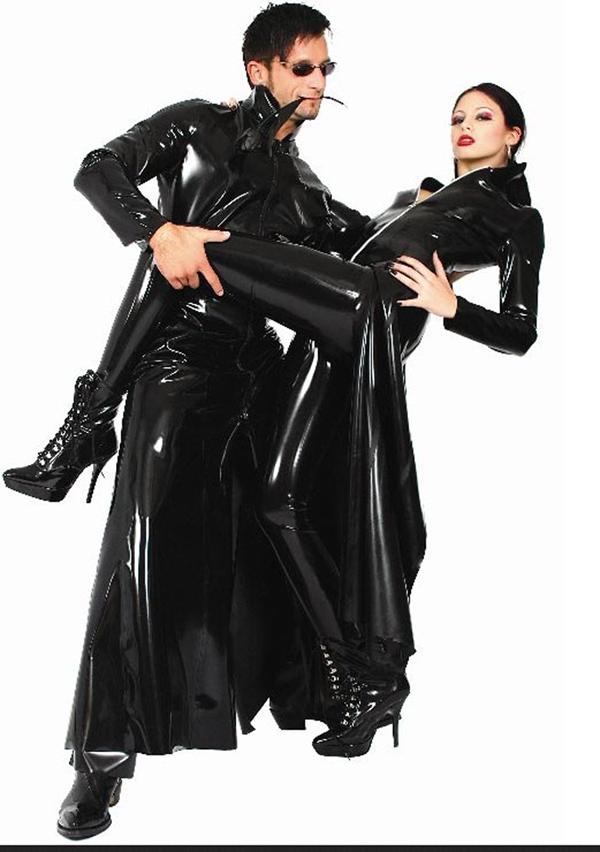 S XL Unisex Men Women Faux Leather Jumpsuit Sexy Black