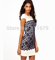 Vestidos Encaje Femininos 2015 New Women Dress Casual Short Sleeve O-Neck Patchwork Lace Plus Size Dresses