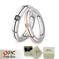 OPK Fashion Trendy Lovers Wedding Ring Bands Romantic Stainless Steel Crystal Women Men Jewelry Rings GJ446