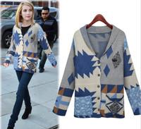 2014 New Women Sweater Loose Cardigan Coat Geometric Splice Vintage Floral Sweater Free Size