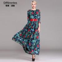 2015 New fashion long print dress fancy women's flower print three quarter sleeve maxi dress plus size