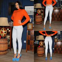 Fashion white water wash elastic slim hip denim skinny pants 14.12