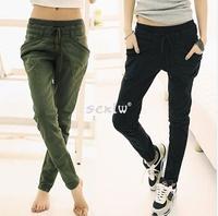 plus size New 2014 Women's Pure Color Pants Long Loose Casual Small Leg Opening Trouser 3 Colors pants harem pants