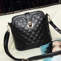 Winter 2014 fashion plaid bucket bag shell bag messenger bag female bags