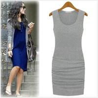 Fashion 2015 women's sleeveless slim tank dress summer one-piece femininos vestidos casual female  trend solid  color LJ256QAF