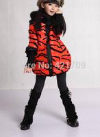 Free shipping 1 piece Winter girls fashion leopard grain long collars hooded jacket