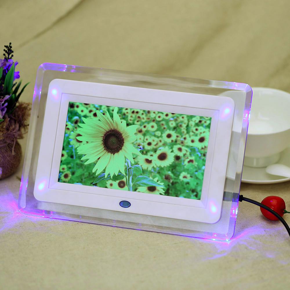 "7"" HD TFT-LCD Digital Photo Picture Frame Alarm Clock MP3 MP4 Movie Player with Light Remote Desktop EU/US Plug(China (Mainland))"