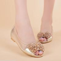 2015 summer new fashion rhinestone sexy gauze breathable shoes flat shoes Women sandals fish head Women flats