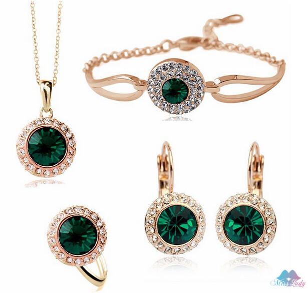 18K זהב מצופה קריסטל אוסטרי קוריאני אופנה תכשיטים הירח העגול נהר זרוק עגילים לנשים 4335