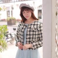 2014 New Women's Woolen Coat  Short Paragraph Slim Thin Long-sleeved  Tweed Coat Free Shipping W93036