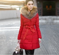 Hot New Autumn Winter Women Brand Down Big Fur Collars Show Thin Warm Outwear Lady Fashion Long Cotton Coats Black/Red